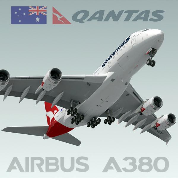 3d airbus a380 qantas