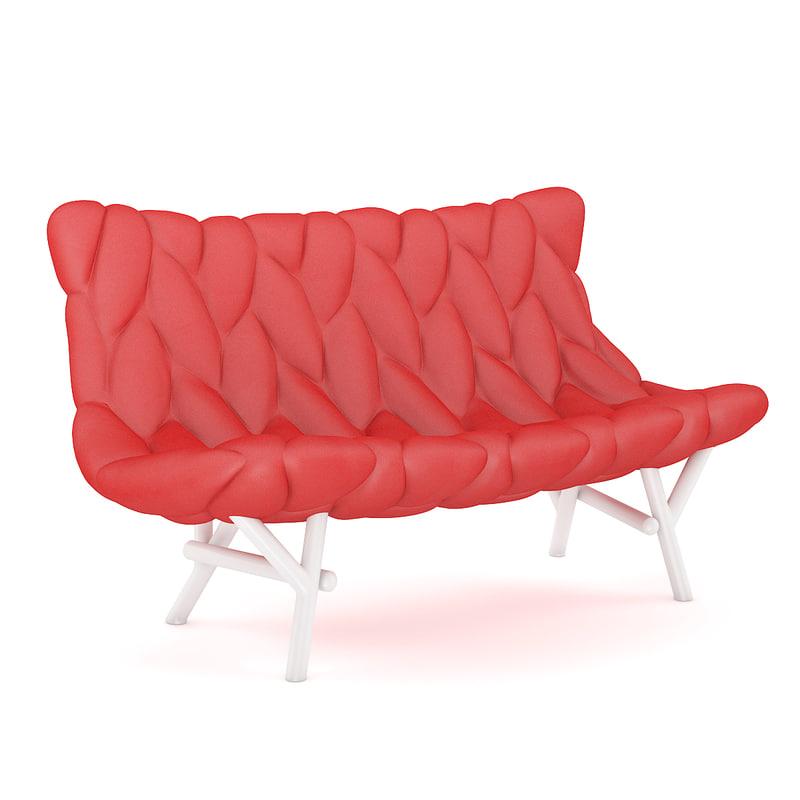 red modern sofa 3d model