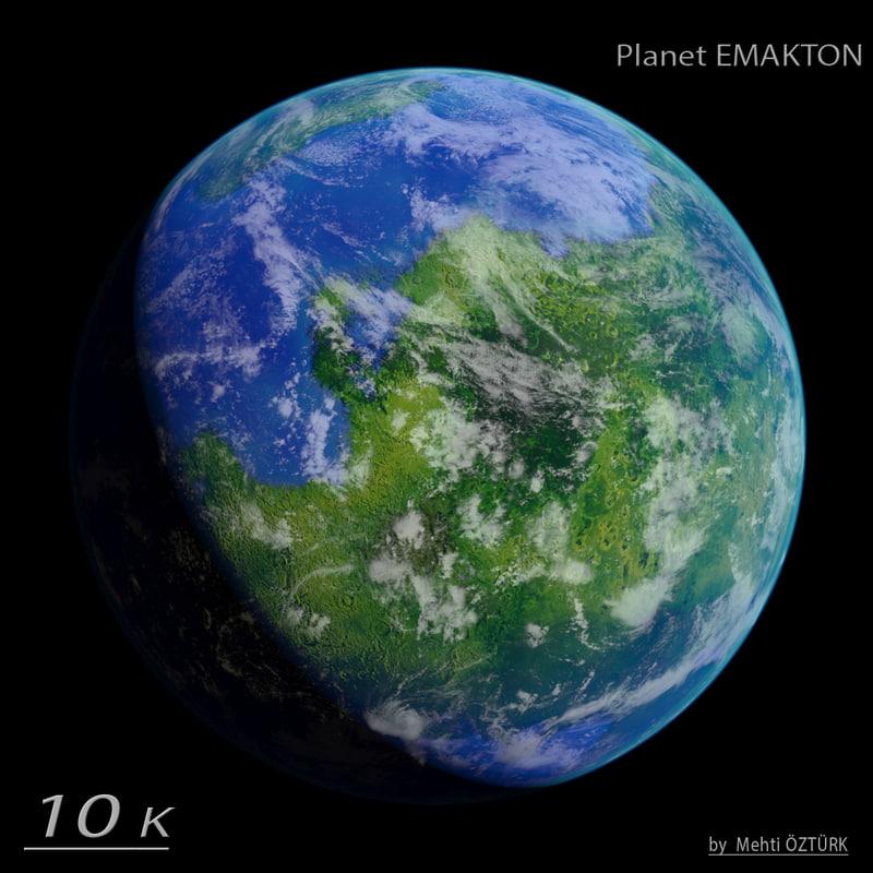 3d realistic planet emakton