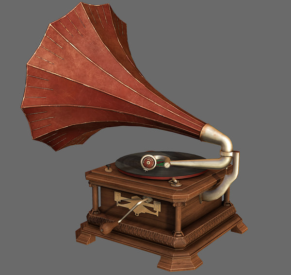 3d retro gramophone model