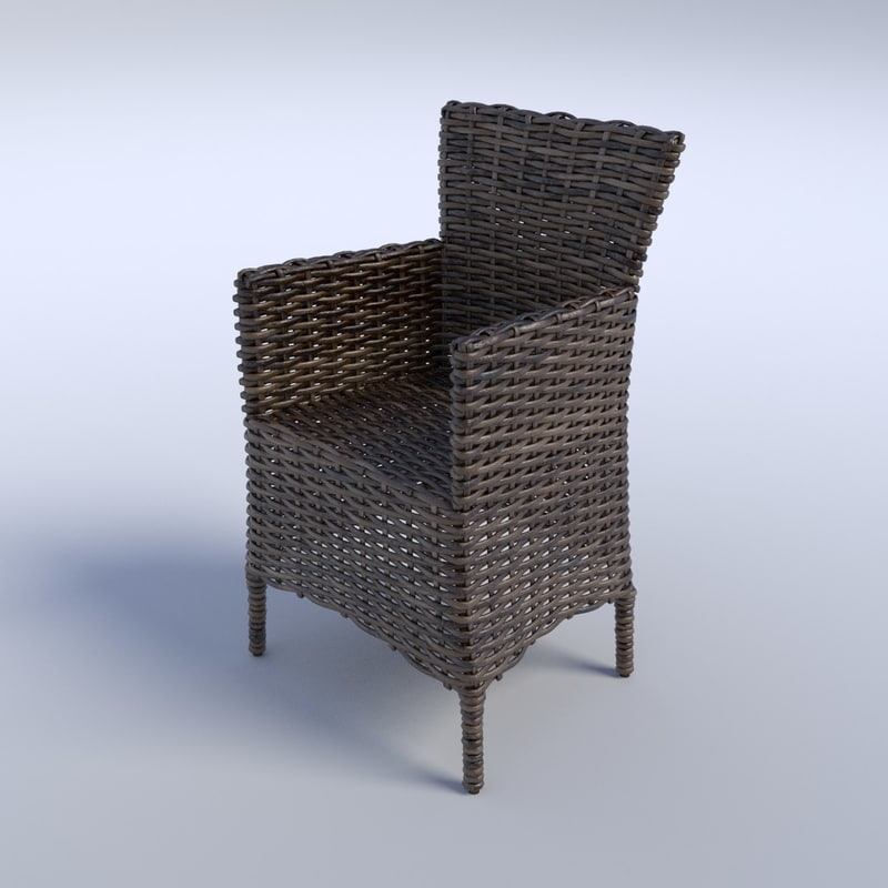 wicker arm chair 3d obj