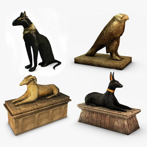egyptian statues 3d max