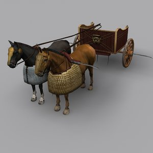 ancient chariot horses 3d 3ds
