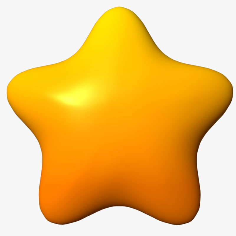 3d cartoon star rounded model