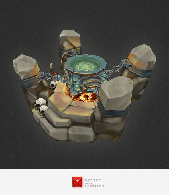 hand painted orc cauldron 3d ma