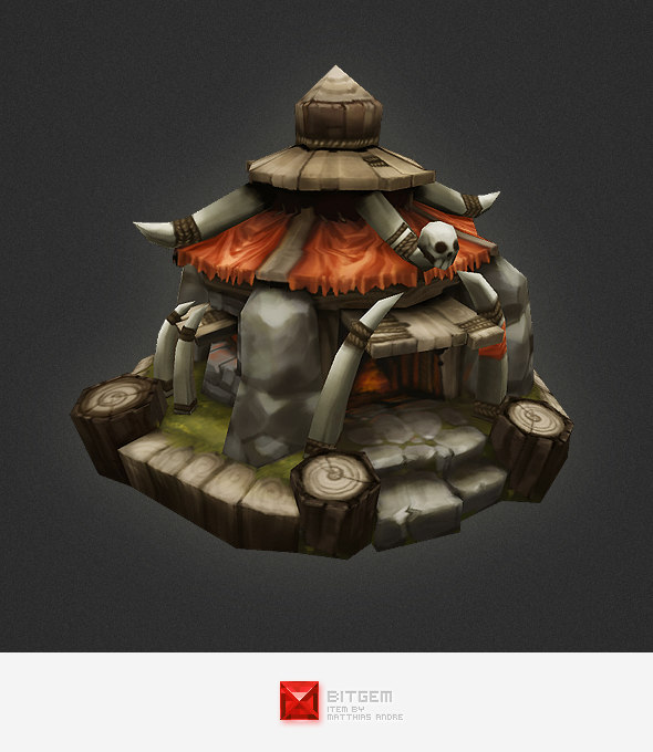 hand painted orc hut 3d model