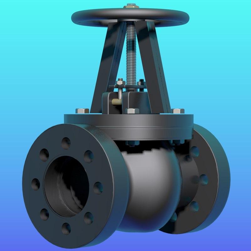 gate valve pipeline 3d model