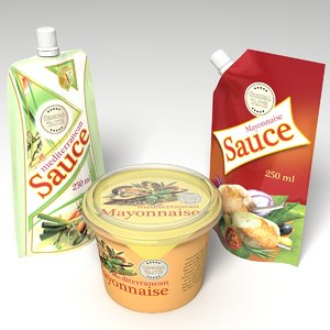 3d model packages sauces