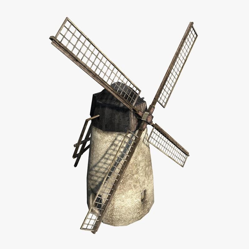 3d windmill backdrop model