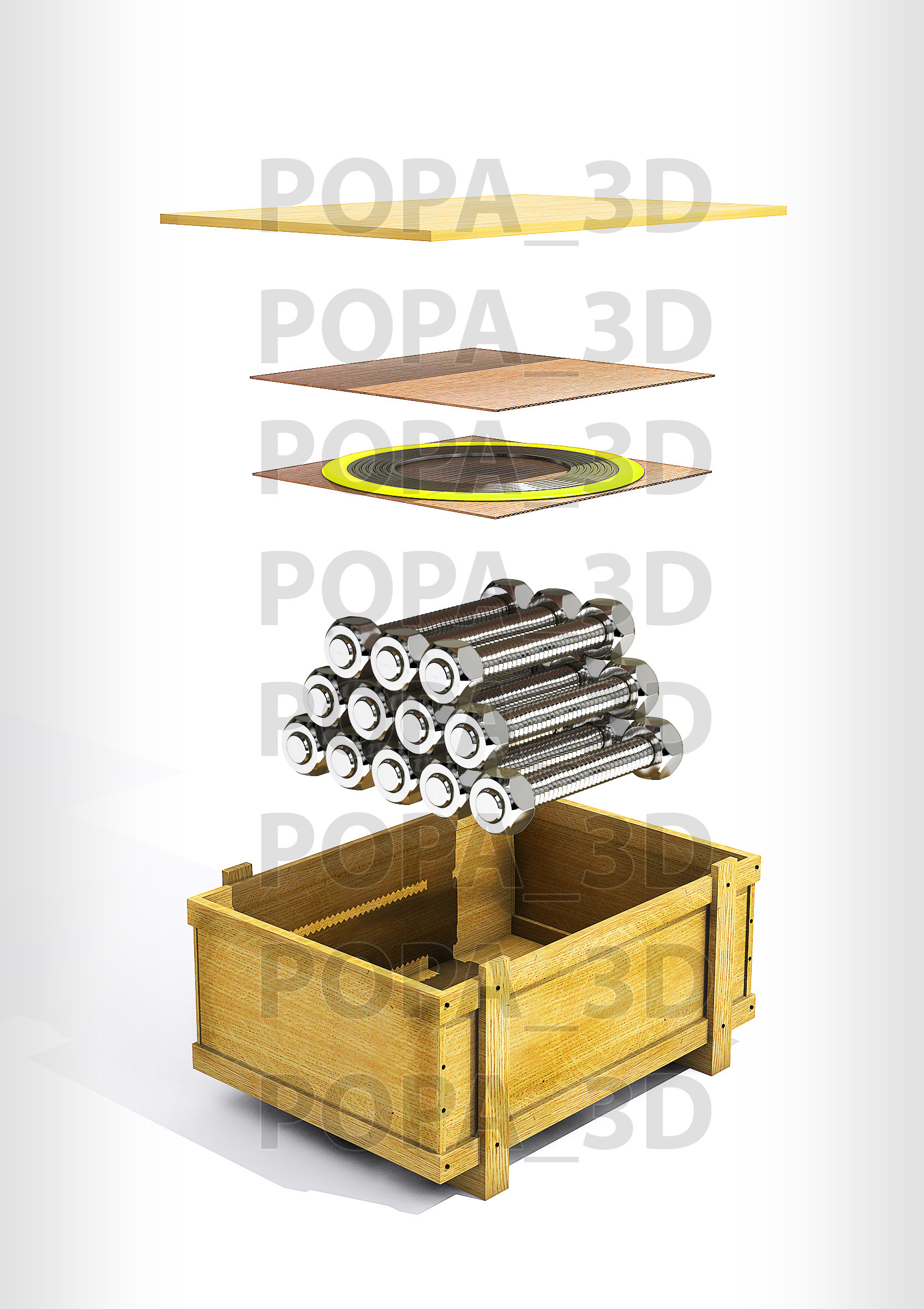 3d rods crate cards gasket model