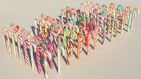 80 candy canes 3d c4d