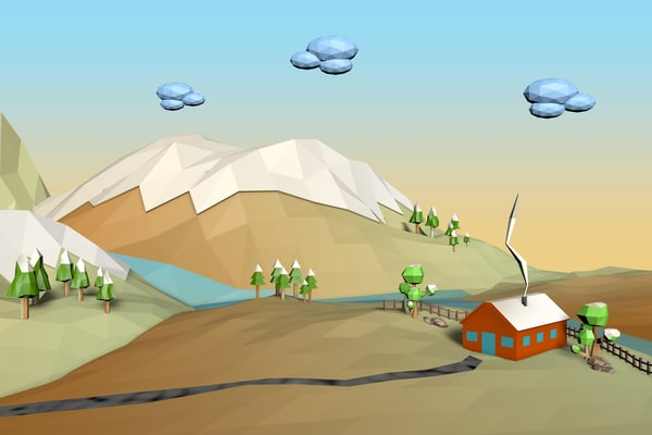 landscape cartoon 3d model