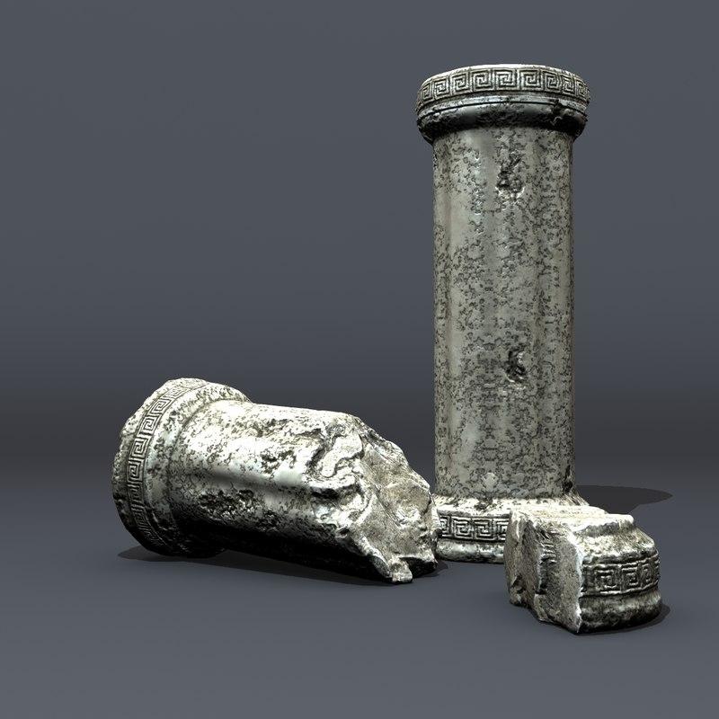 cracked greek columns 3d model