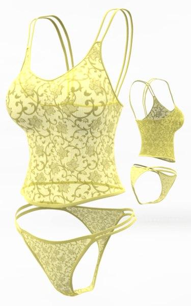 3d lingerie set cloth simulations model