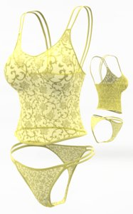 3d lingerie set cloth simulations model