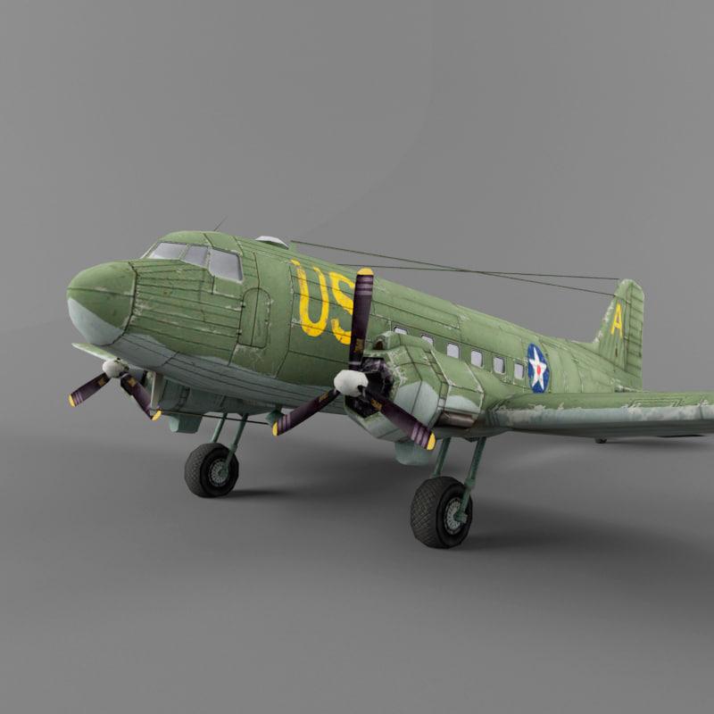 douglas c-47 transport 3d max
