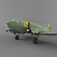 douglas c-47 transport 3d max