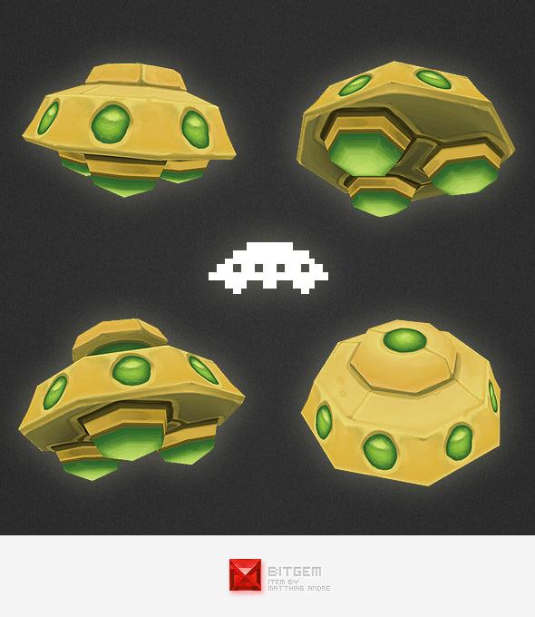 3d model space invader alien