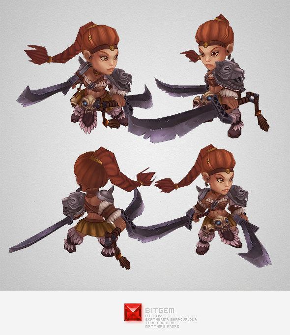 hand painted barbarian girl character 3d ma