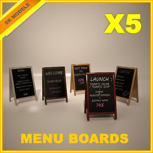 menu boards 3d model