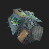 barricade pile rubbish 3d model
