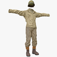 American WWII Infantry Soldier Clothes 3