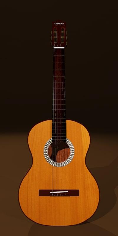 3d model guitar yamaha