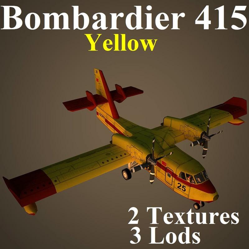 bombardier yel aircraft 3d model