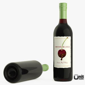 bottle wine red 3d max
