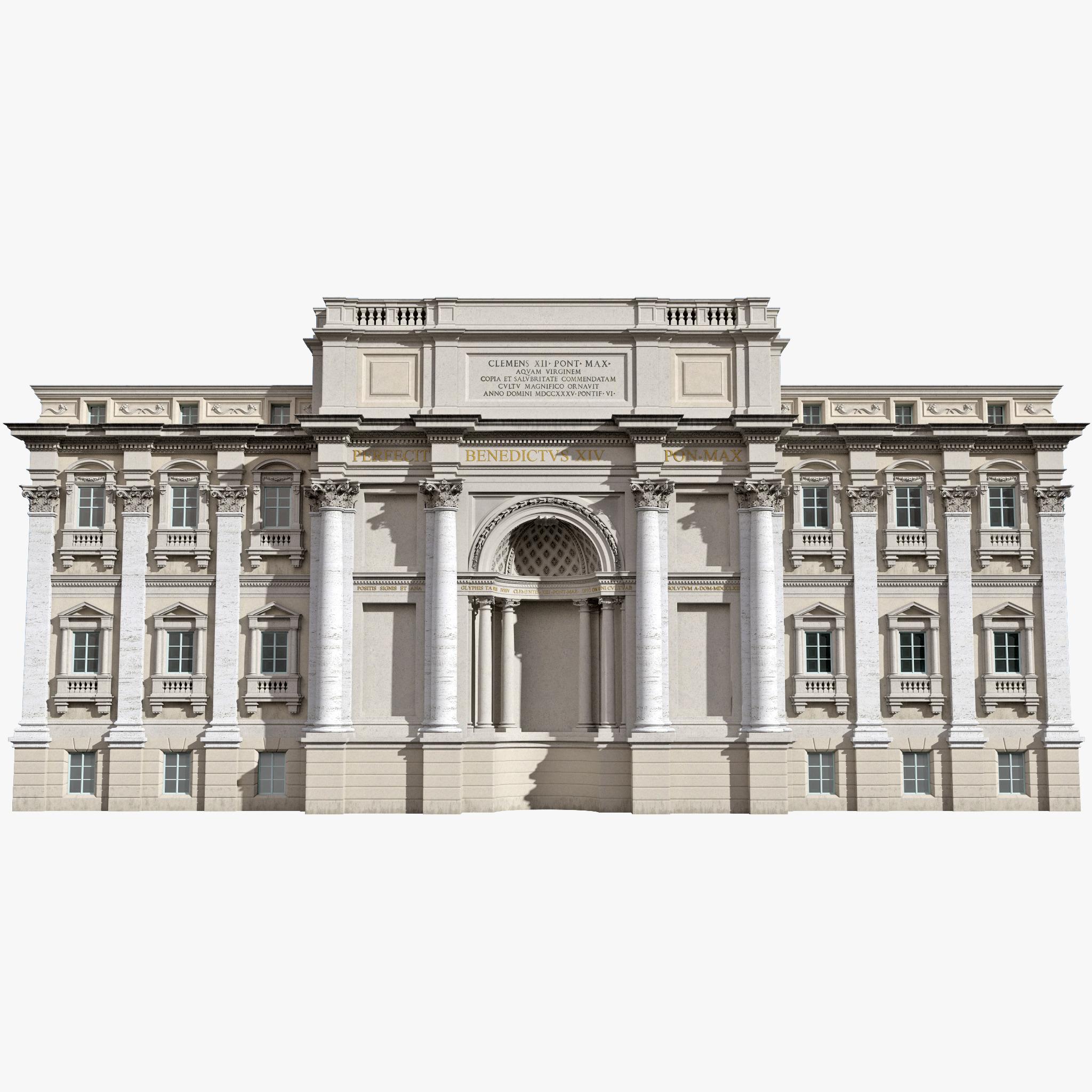 c4d trevi fountain building facade