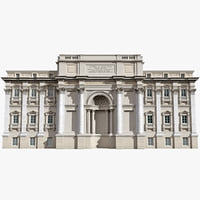 c4d trevi fountain building facade