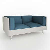 small seater fabric sofa 3d model