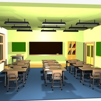 Cartoon Classroom Interior 2