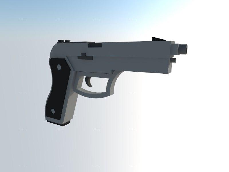 3d model 9mm pistol