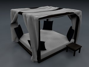 3d model luxury canopy bed