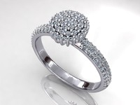 Pave Halo Ball Ring