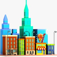 3ds cartoon city street