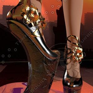 3d model heelless woman shoe