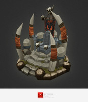 3d model hand painted orc throne