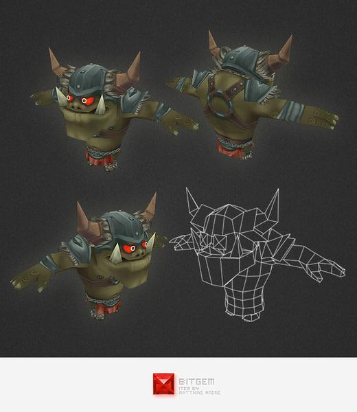 3d character orc warrior