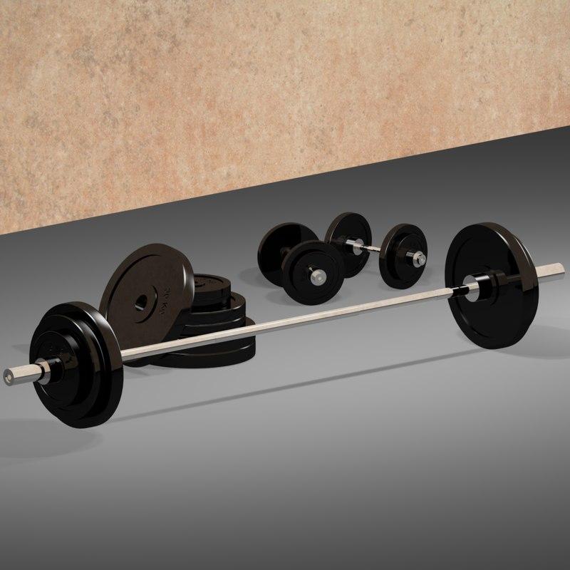 3d model barbell dumbbell