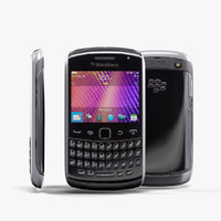 3d low-poly blackberry 9360 black