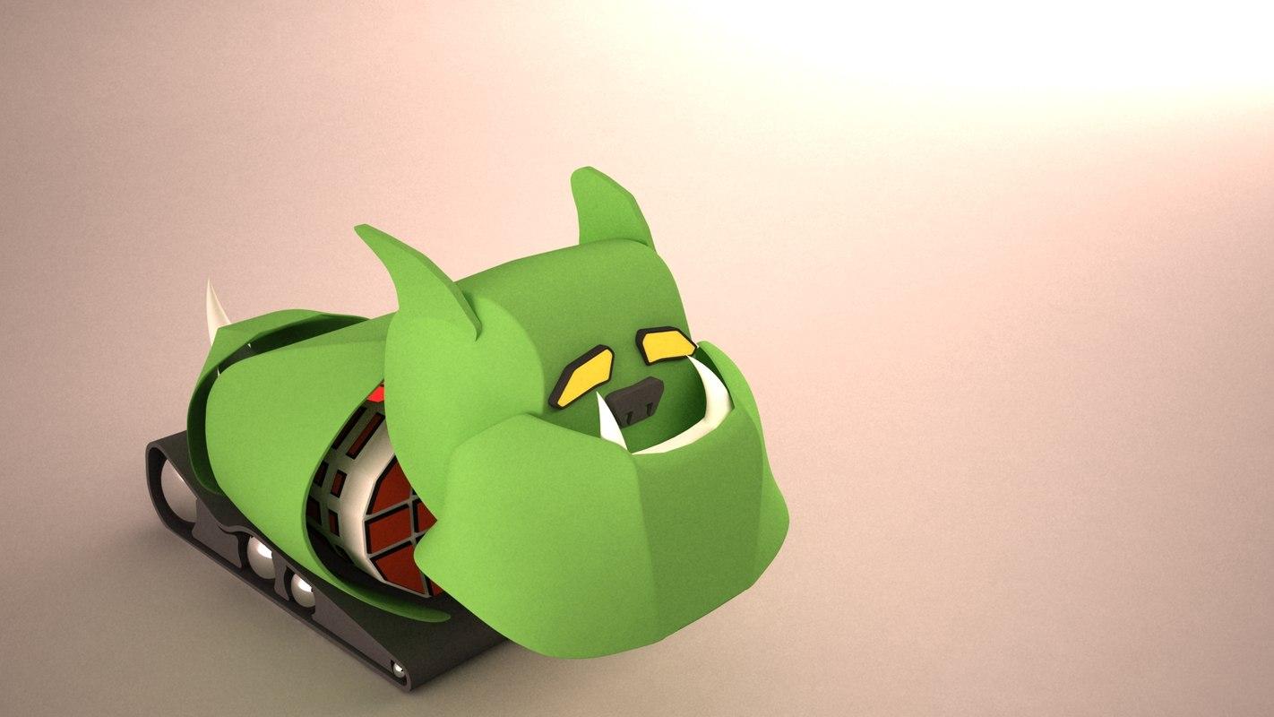 rigged character dot dog 3d model