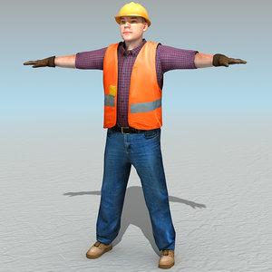 3d casual worker model