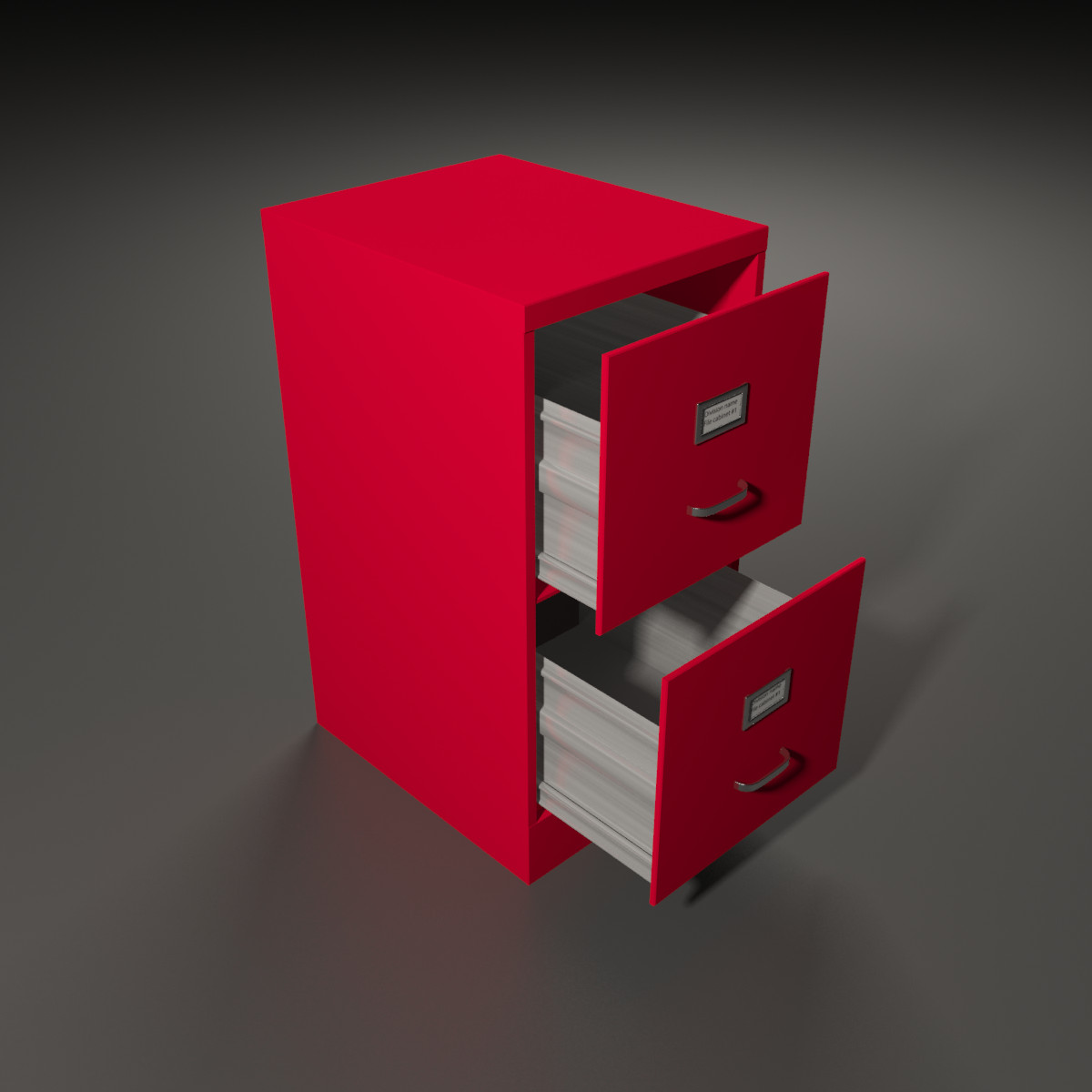 Red Filing Cabinet Cabinet 3d