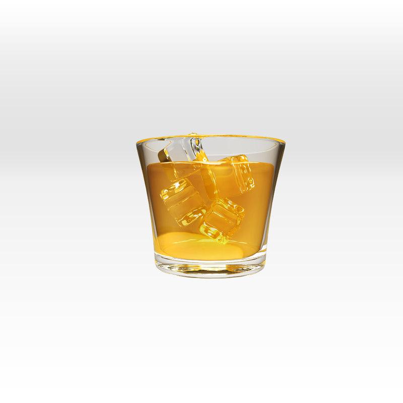 3d model glass scotch rocks