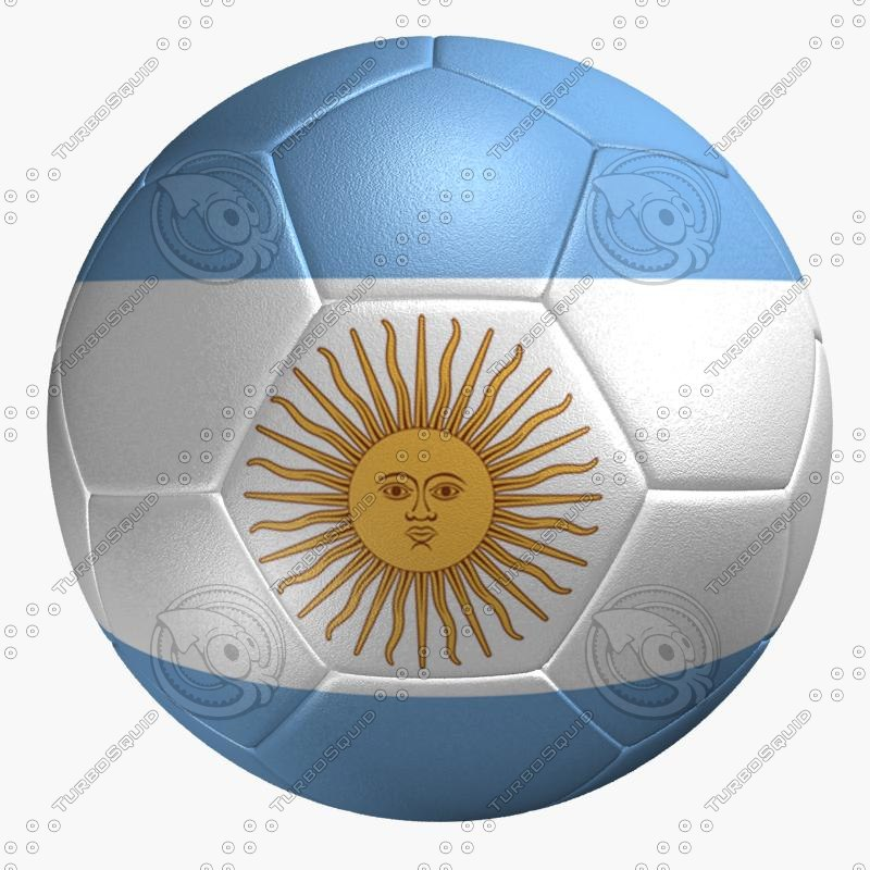 soccer ball argentina flag 3ds