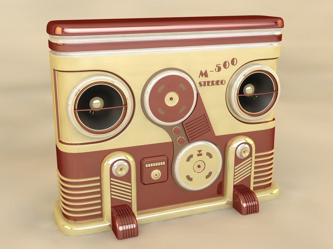 3d model retro stereo