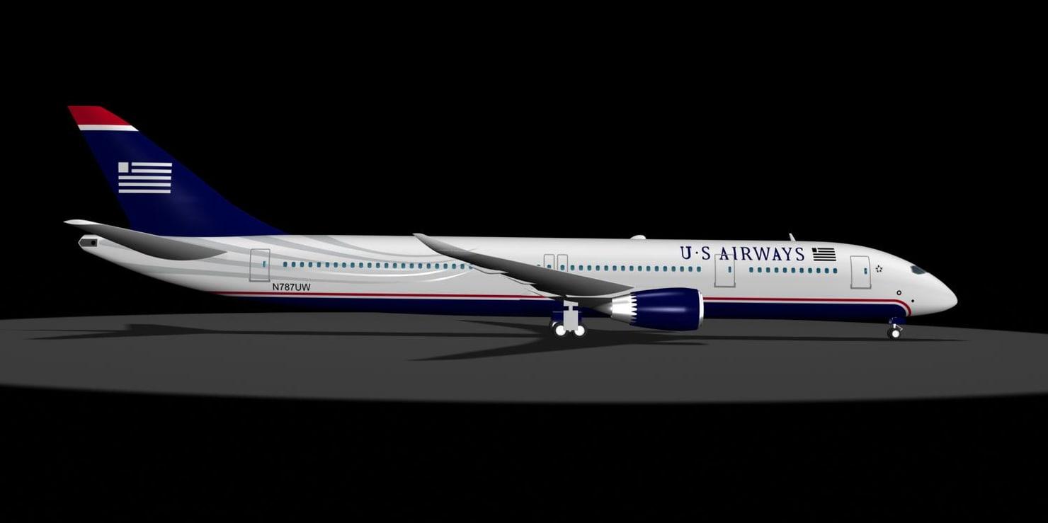 3d u s airways 787 model