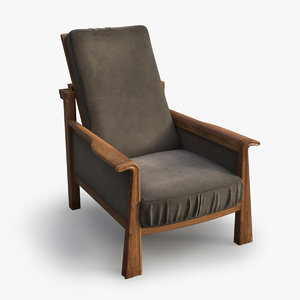 max realistic vintage armchair wood